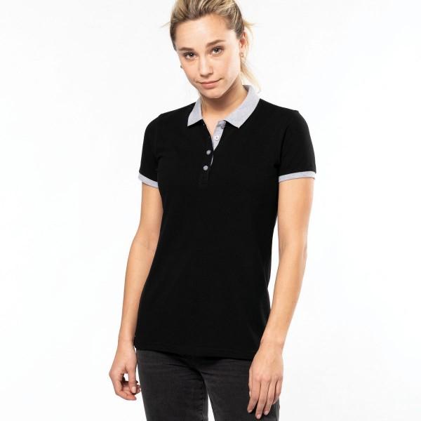 Women's Two-tone Short Sleeve Polo Shirt