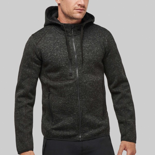 Men's Jacket with Hood and Blended Fabric