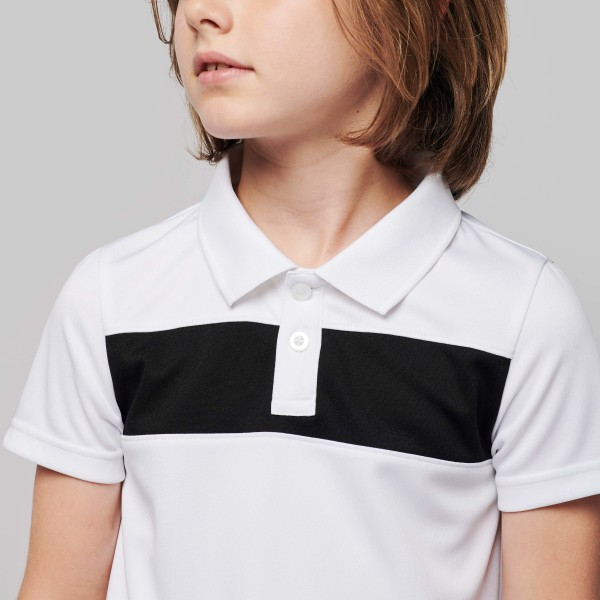 Kid's Short Sleeve Polo Shirt with Contrasting Chest